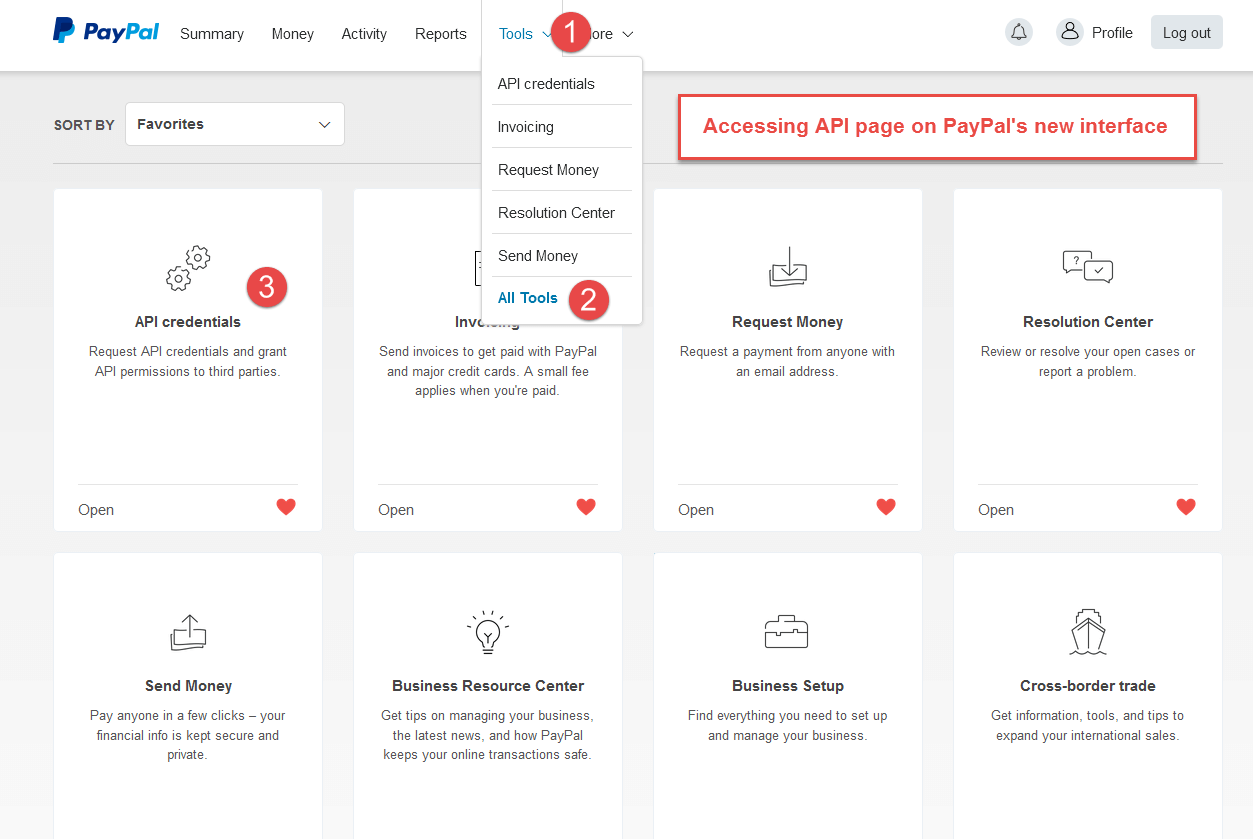 API credentials page new PayPal interface