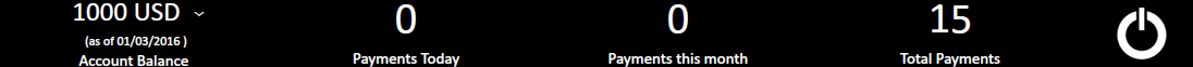 Payments dashboard header