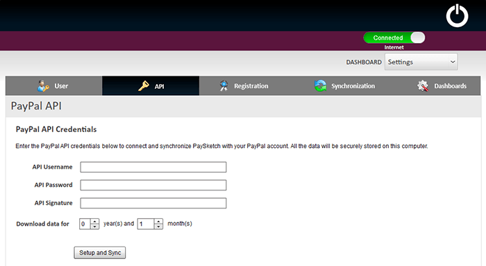Paysketch enter Paypal Api Credentials