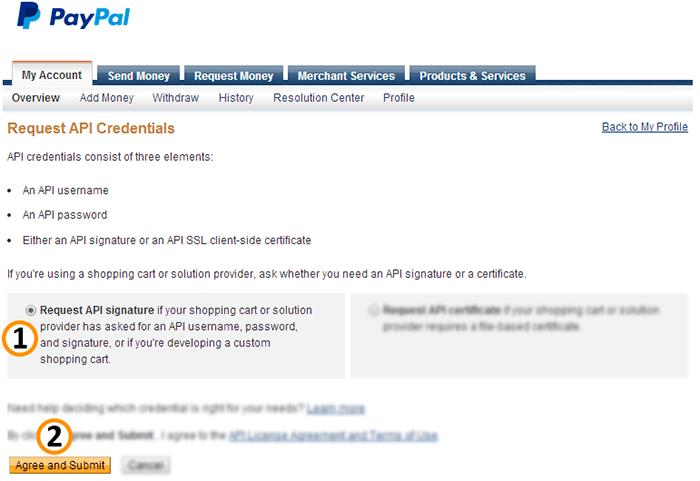 Request PayPal API Signature