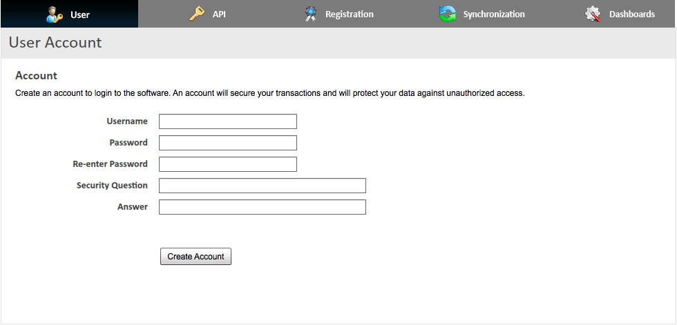 Settings Dashboard User Account