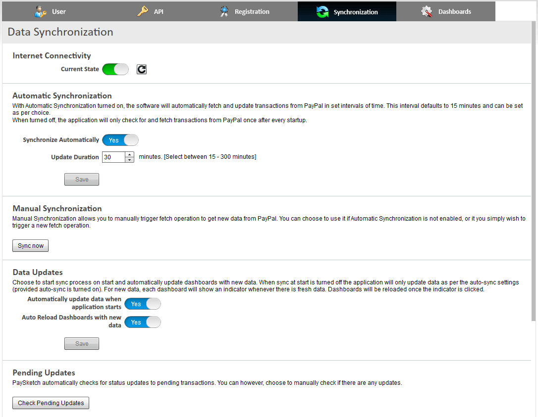 PaySketch Sync Settings