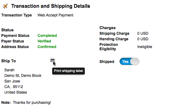 Transactions Dashboard Shipping