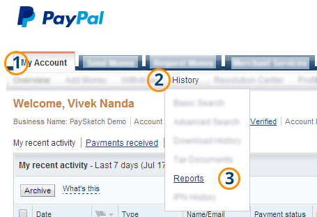 How to generate your PayPal monthly statement PaySketch – Business Monthly Report