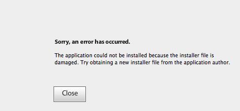 Installer file is damaged