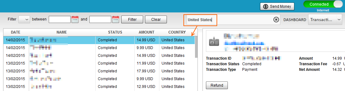 Search PayPal transactions by countries