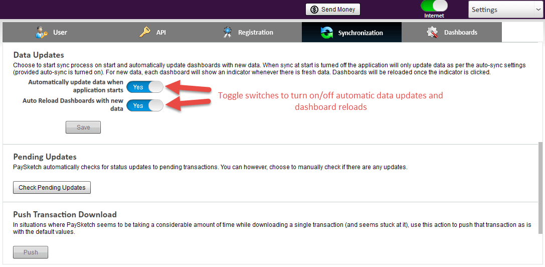 Turn off auto-update and dashboard refreshes